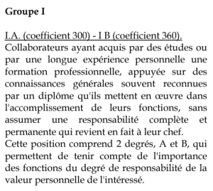 Exemple de classification - Convention collective nationale du personnel au sol des entreprises de transport aérien