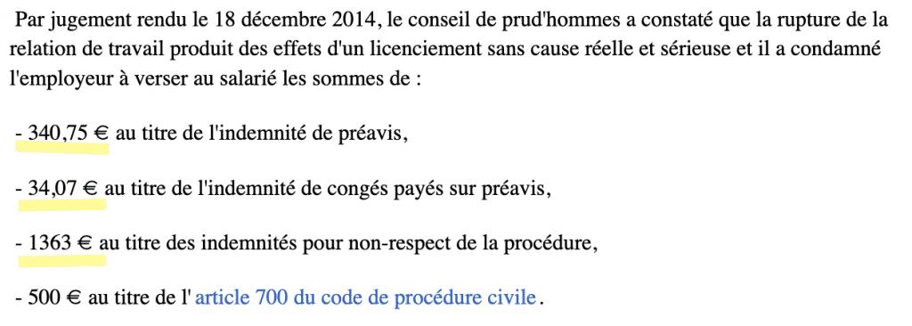 Exemple de sommes décision Cour d'appel- Indemnités de Rupture Période d'essai