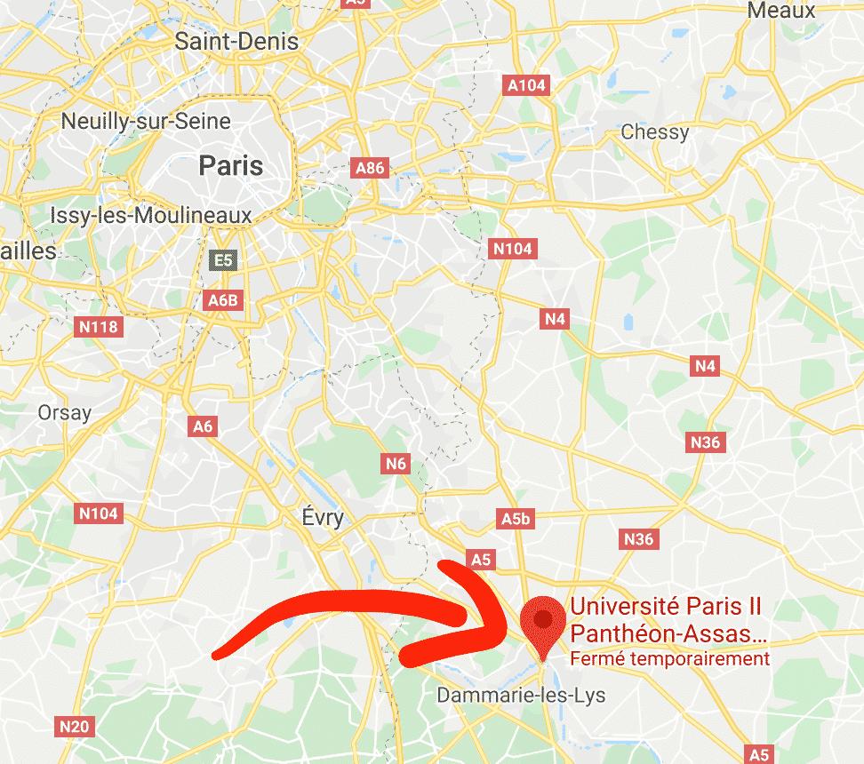 localisation université panthéon assas melun